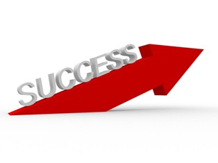 """success"" word above a red arrow"