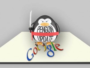 "A penguin with a sword on a panel with ""Google"" word"