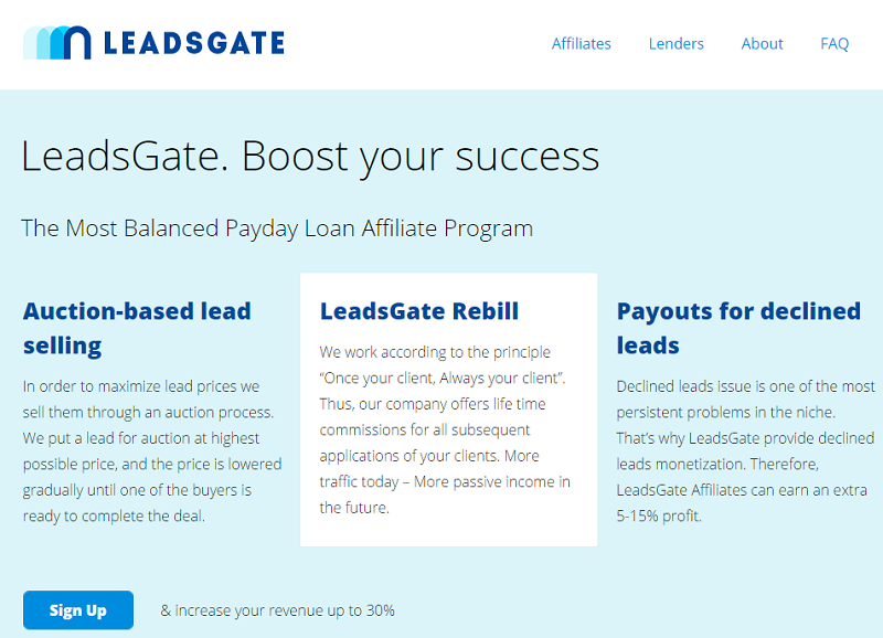 LeadsGate homepage screenshot